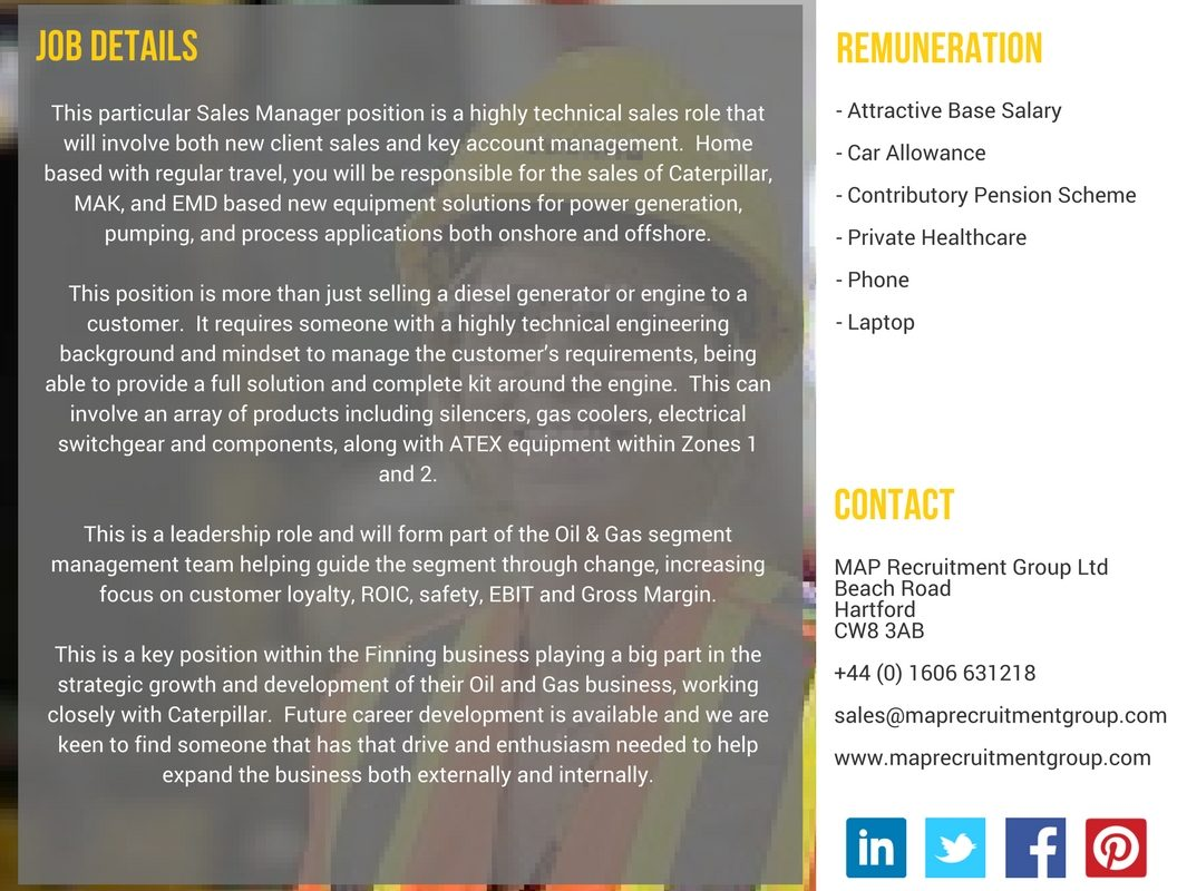 Sales Manager, Oil and Gas